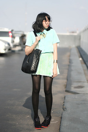 mint shirt - quilted bag - stripes skirt - navy wedges