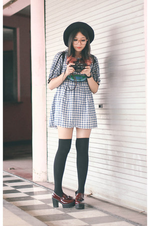 sky blue gingham ASK dress - black knee high socks socks