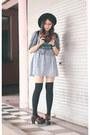 Sky-blue-gingham-ask-dress-black-knee-high-socks-socks