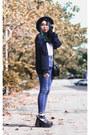 Black-platform-custom-made-shoes-blue-high-waisted-bought-online-jeans