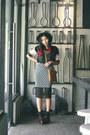 Black-lapink-blouse-black-houndstooth-lapink-skirt-platforms-lasenora-heels