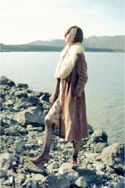 dark brown vintage coat - mustard vintage dress - brown vintage shoes