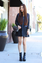 navy leather madewell jacket - black leather Urban Outfitters skirt