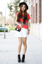 white skater Charlotte Russe skirt - carrot orange stripes H&M top