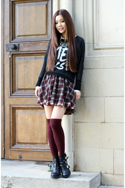 brick red plaid Forever 21 skirt - black ankle boots Topshop boots