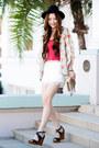 Black-zara-hat-beige-studded-bag-white-lace-trimmed-forever-21-shorts