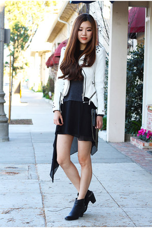 white studded Local store jacket - black ankle boots sam edelman boots