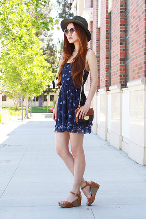 navy summer abercrombie and fitch dress - army green Forever 21 hat