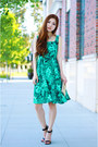 Green-floral-persunmall-dress-beige-studded-bag