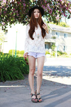 white lace Local store top - black floral C Label shoes