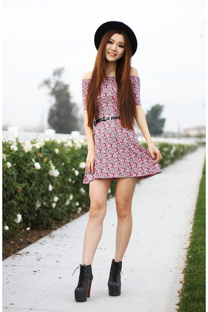 pink floral Charlotte Russe dress - black leather Jeffrey Campbell boots