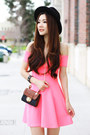 Bubble-gum-off-shoulder-charlotte-russe-dress-black-chain-nordstrom-bag