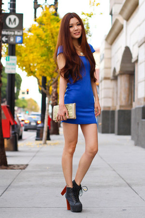 blue party Charlotte Russe dress - black Jeffrey Campbell boots