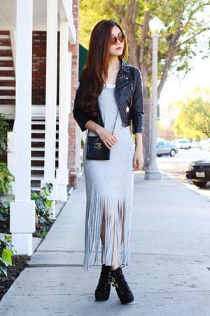 silver fringe lily bleu beach dress - black buckle Charlotte Russe shoes