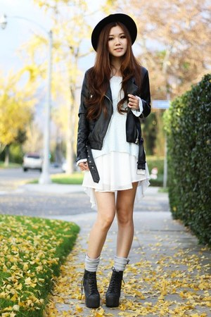 black Forever 21 jacket - black lace up Jeffrey Campbell shoes