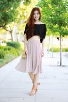 ivory midi stripes Front Row Shop skirt - tan studded Nordstrom bag