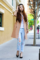 camel trench coat Zara coat - black pumps Steve Madden shoes