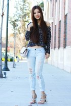 silver chunky C Label heels - navy oversized free people sweater