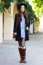 black Forever 21 jacket - dark brown leather tory burch boots