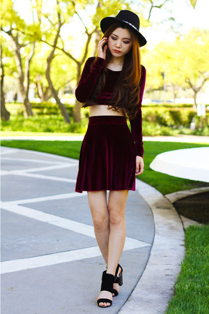 brick red velvet Nylon Shop skirt - brick red velvet Nylon Shop top