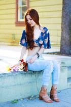 blue kimono crop Morphologie top - light blue boyfriend jeans jeans