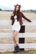 maroon leather Charlotte Russe jacket - black leather Jeffrey Campbell boots
