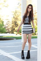 black leather Jeffrey Campbell boots - white black white Charlotte Russe dress