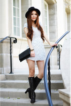 white polka dots Urban Outfitters dress - black lace up Charles David boots