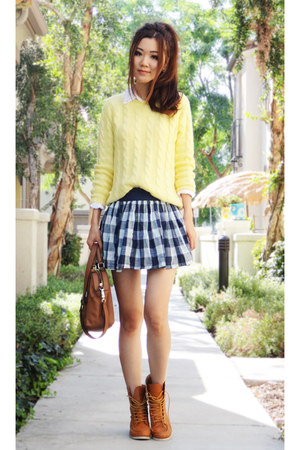mini hollister skirt - combat Urban Outfitters boots - warm Forever 21 sweater