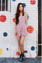 navy floral Dr Martens boots - coral floral Urban Outfitters romper
