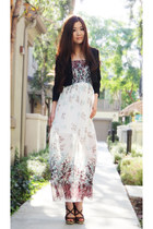 white floral vintage dress - black Zara blazer