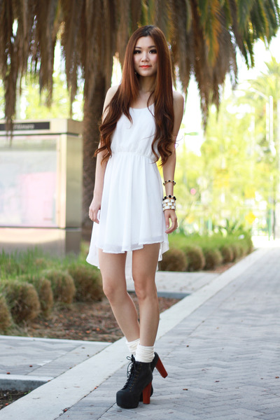white Lush dress - black chunky Jeffrey Campbell boots