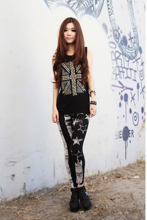 black prints leggings - black studded Forever21 top