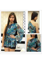 teal Glam Zone blouse