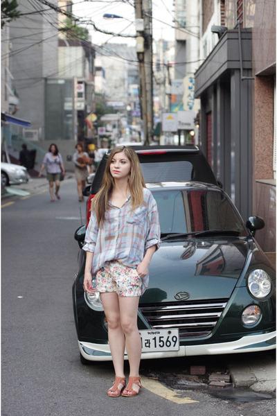 sky blue korean brand top - nude korean brand shoes - backpack korean brand bag