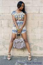 tan print H&M dress - peach booties Aldo shoes