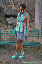 light blue clutch Aldo bag - sky blue H&M dress - light blue heel less wedges