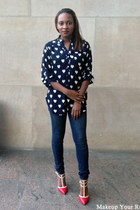 navy heart print blouse - blue skinny fit f21 jeans - ruby red pumps