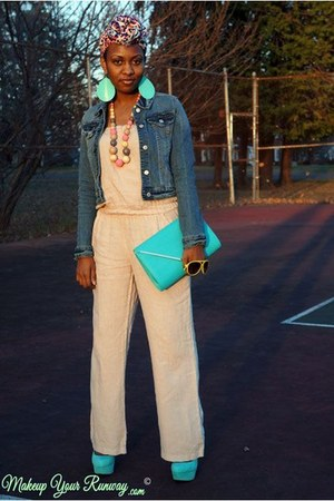 blue denim jacket - light pink leopard H&amp;M scarf - aquamarine clutch Aldo bag