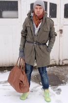 vintage jacket - nike shoes - Topman bag accessories - Zara jeans - vintage scar