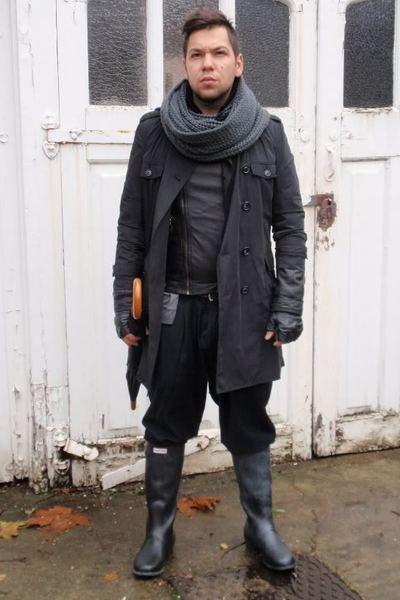 Zara jacket - trench coat Topman jacket - Hunter boots - vintage pants - H&M sca