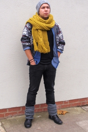 Zara shirt - Sisley jeans - Topman boots - vintage sweater