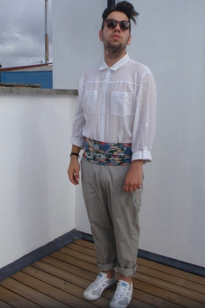 H&M shirt - H&M pants - cummerbund vintage accessories - onitsuka tiger shoes -