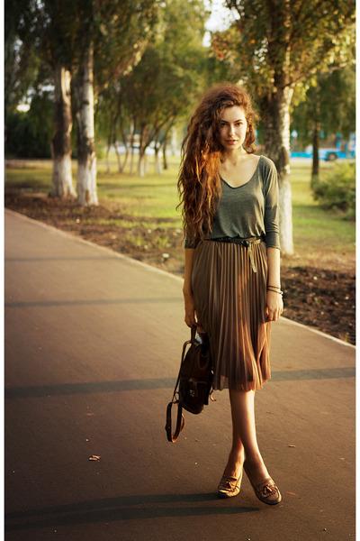 Mango top - Mango belt - reserved skirt - ecco loafers