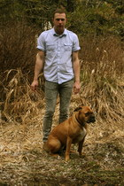 brown J Crew boots - heather gray BDG jeans - blue ben sherman shirt