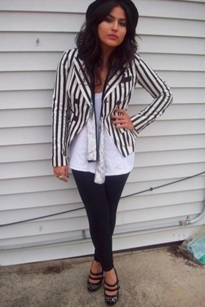black hat - striped Forever21 jacket - silver sequined Wet Seal scarf
