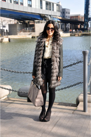 leather vintage jacket - fur gilet Zara coat - Fendi bag