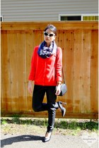 navy H&M scarf - black leather H&M bag - white cat eye zeroUV sunglasses
