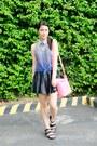 Black-pleated-leather-forever-21-skirt