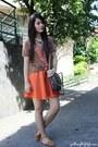Extreme-finds-bracelet-brown-old-artwork-shirt-orange-bubbles-skirt
